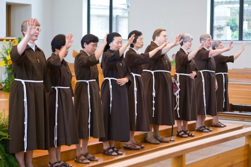 Poor Clares blessing the crowd at the end of Mass.  Photo by Colleen Kelley