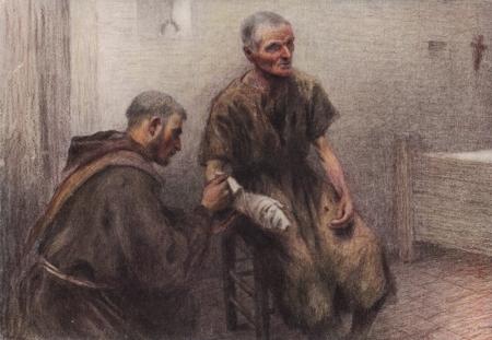 friar bentivoglia tends a leper